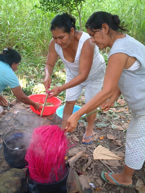 Dyeing material for basket weaving